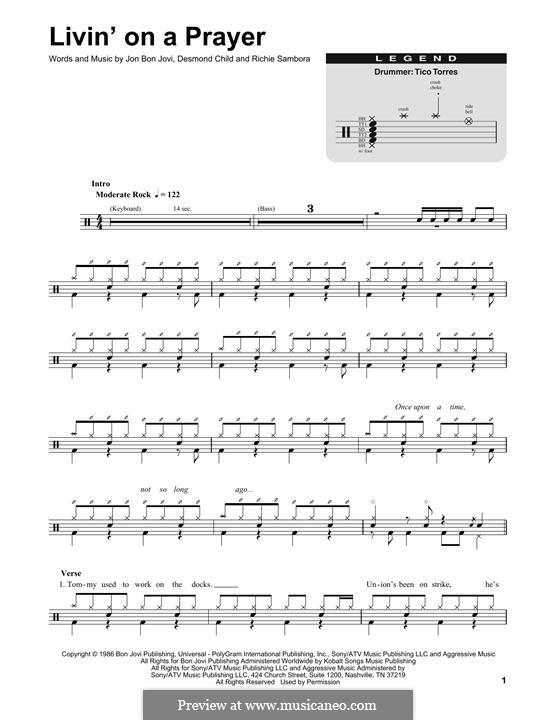Livin' on a Prayer (Bon Jovi): Drum set by Desmond Child, Jon Bon Jovi, Richie Sambora