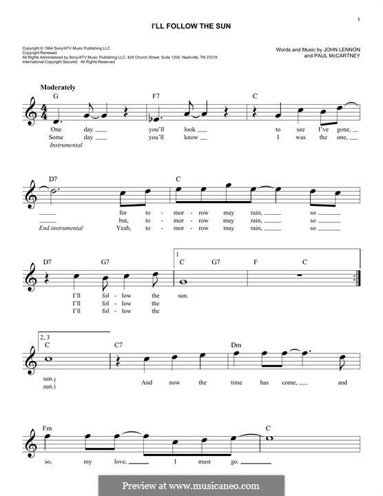 I'll Follow the Sun (The Beatles): Melody line by John Lennon, Paul McCartney