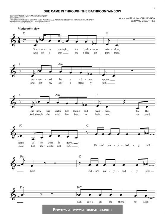 She Came in Through the Bathroom Window (The Beatles): Melody line by John Lennon, Paul McCartney
