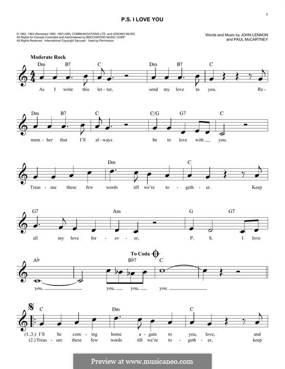 P.S. I Love You (The Beatles): Melody line by John Lennon, Paul McCartney