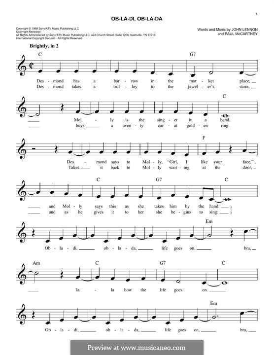 Ob-La-Di, Ob-La-Da (The Beatles): Melody line by John Lennon, Paul McCartney