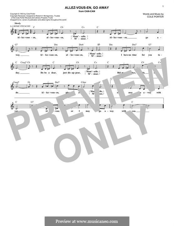 Allez-Vous En, Go Away: Melody line by Cole Porter