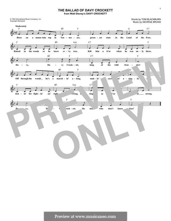 The Ballad of Davy Crockett (from Davy Crockett): Melody line by George Bruns