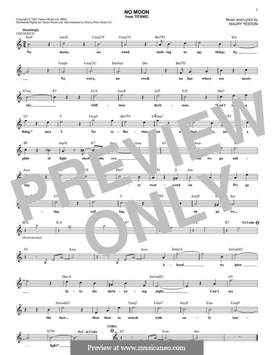 No Moon: Melody line by Maury Yeston