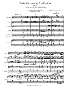 La stravaganza. Twelve Violin Concertos, Op.4: Violin Concerto No.2 in E Minor – score, parts, RV 279 by Antonio Vivaldi