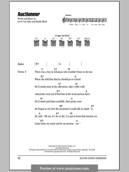 Auctioneer (Leroy Van Dyke): Melody line by Buddy Black
