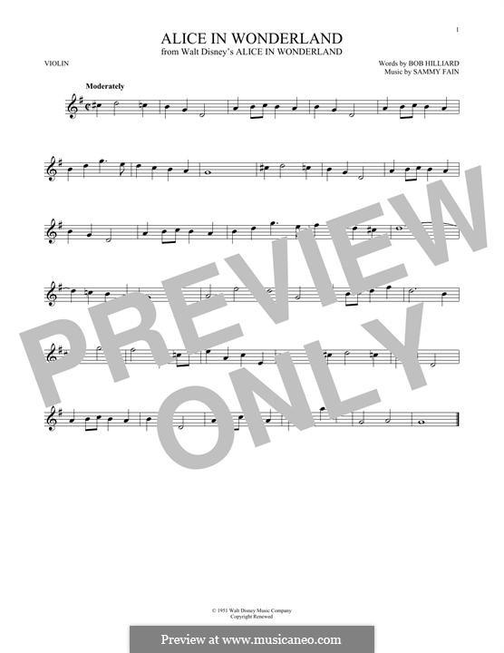 Alice in Wonderland (Bill Evans): For violin by Bob Hilliard, Sammy Fain