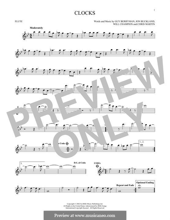 Clocks (Coldplay): For flute by Chris Martin, Guy Berryman, Jonny Buckland, Will Champion