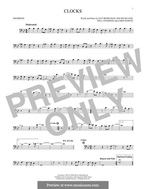 Clocks (Coldplay): For trombone by Chris Martin, Guy Berryman, Jonny Buckland, Will Champion