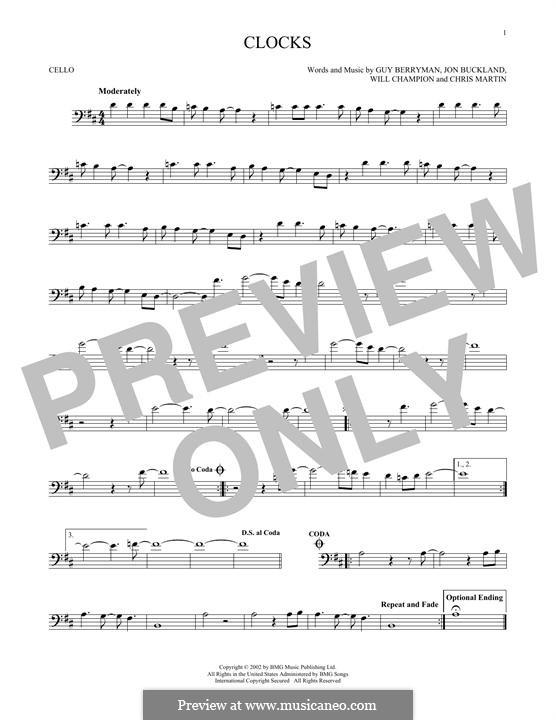 Clocks (Coldplay): For cello by Chris Martin, Guy Berryman, Jonny Buckland, Will Champion