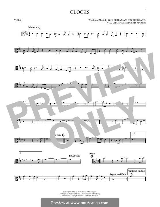Clocks (Coldplay): For viola by Chris Martin, Guy Berryman, Jonny Buckland, Will Champion