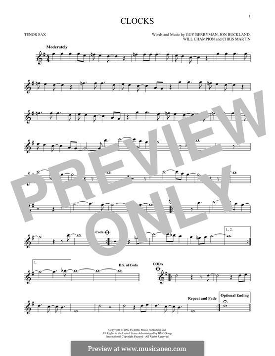 Clocks (Coldplay): For tenor saxophone by Chris Martin, Guy Berryman, Jonny Buckland, Will Champion
