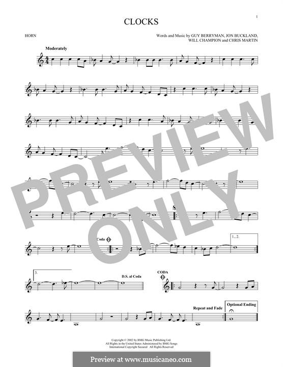 Clocks (Coldplay): For horn by Chris Martin, Guy Berryman, Jonny Buckland, Will Champion