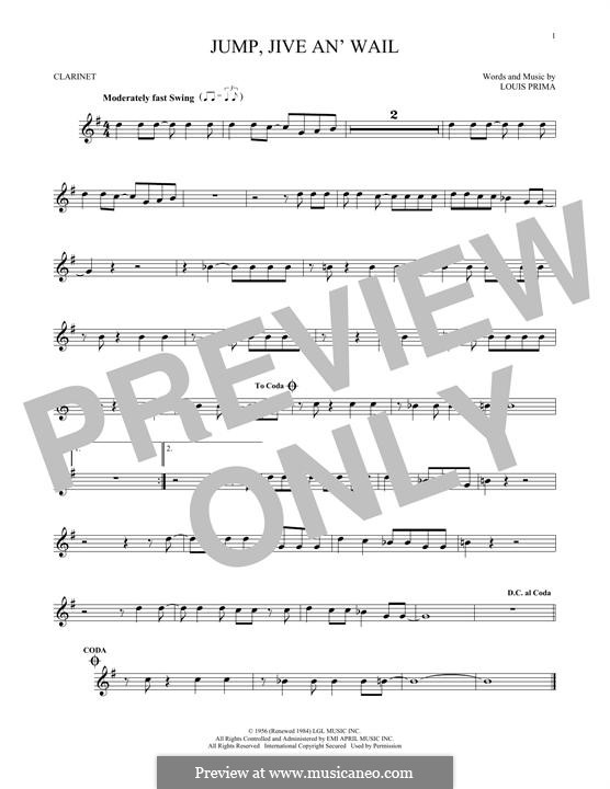 Jump, Jive an' Wail: For clarinet by Louis Prima