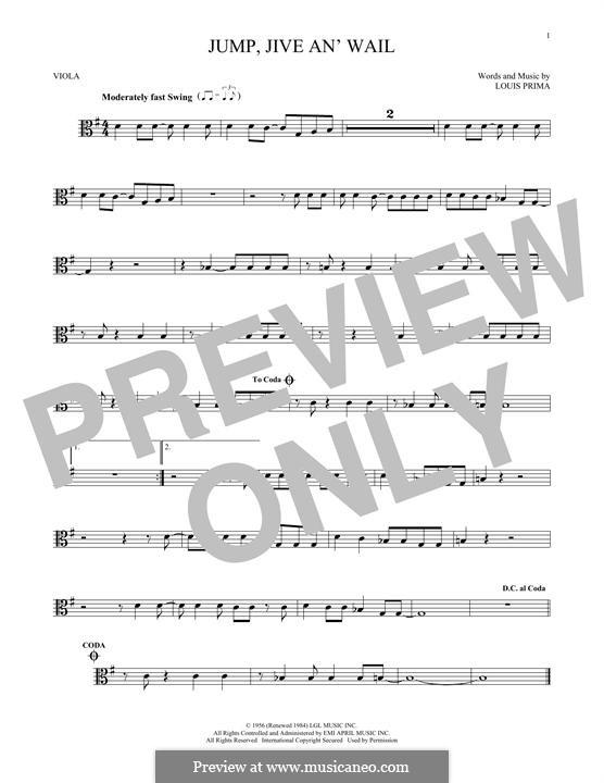 Jump, Jive an' Wail: For viola by Louis Prima