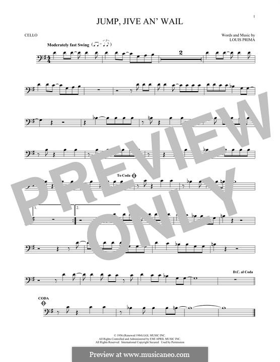 Jump, Jive an' Wail: For cello by Louis Prima