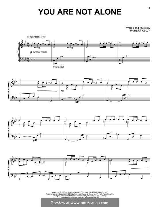 You Are Not Alone Michael Jackson By R Kelly Sheet Music On