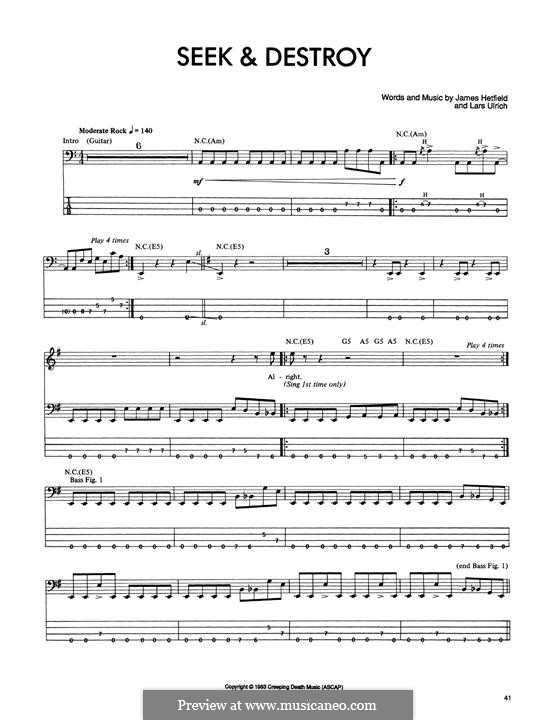 Seek and Destroy (Metallica): For bass guitar with tab by James Hetfield, Lars Ulrich