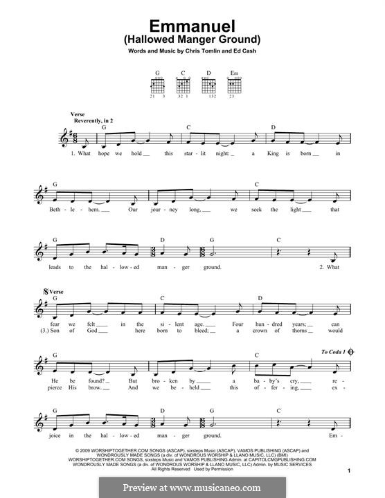 Emmanuel (Hallowed Manger Ground): For guitar with tab by Chris Tomlin, Ed Cash