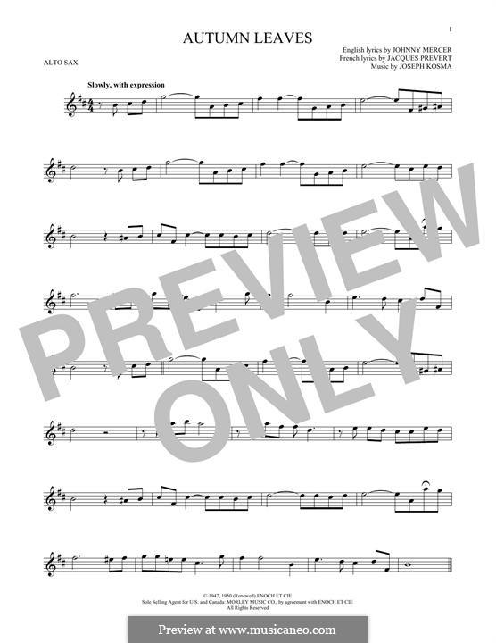 Autumn Leaves (Les Feuilles Mortes): For alto saxophone by Joseph Kosma