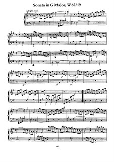 Sonata for Keyboard in G Major, H 119 Wq 62:19: For a single performer by Carl Philipp Emanuel Bach