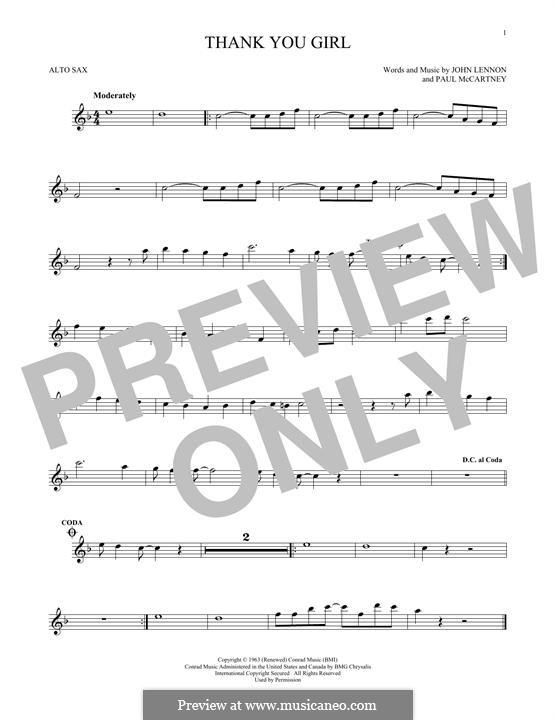 Thank You Girl (The Beatles): For alto saxophone by John Lennon, Paul McCartney