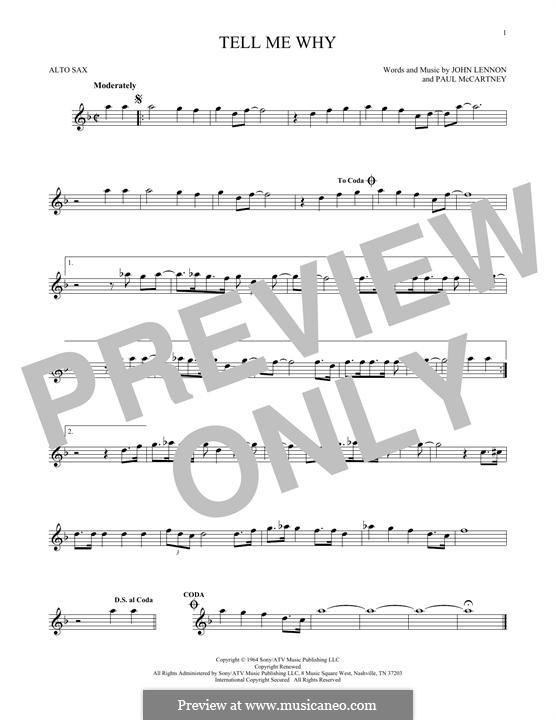 Tell Me Why (The Beatles): For alto saxophone by John Lennon, Paul McCartney