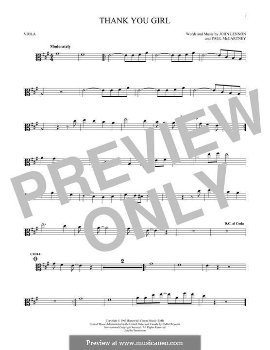 Thank You Girl (The Beatles): For viola by John Lennon, Paul McCartney