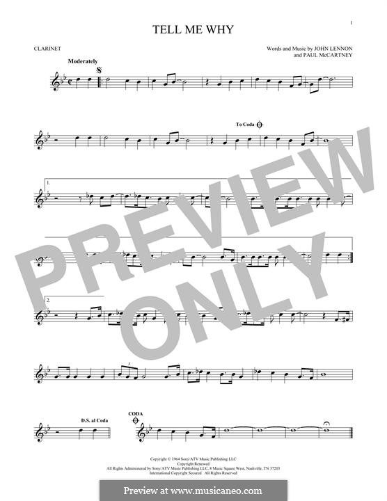 Tell Me Why (The Beatles): For clarinet by John Lennon, Paul McCartney