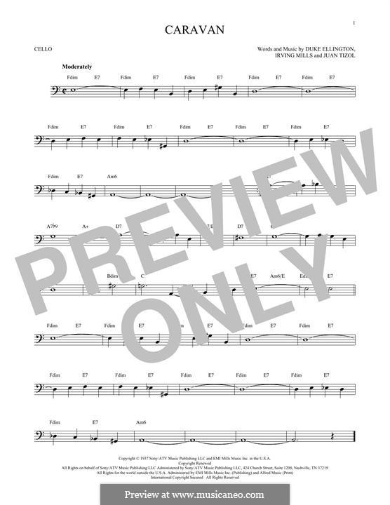 Caravan (Les Paul): For cello by Irving Mills, Duke Ellington, Juan Tizol