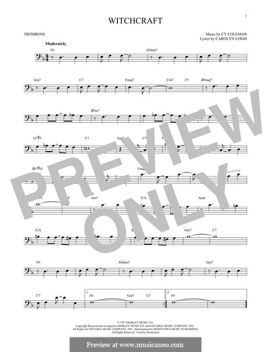 Witchcraft (Frank Sinatra): For trombone by Cy Coleman