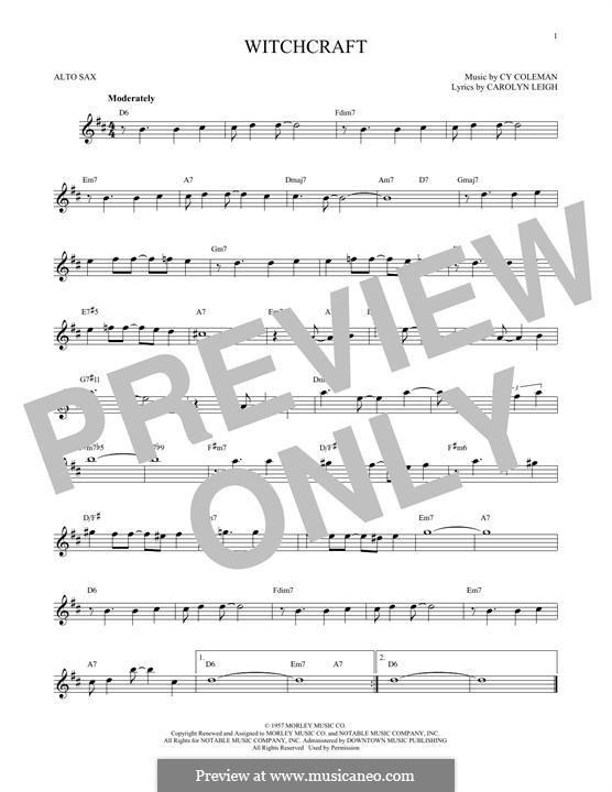 Witchcraft (Frank Sinatra): For alto saxophone by Cy Coleman