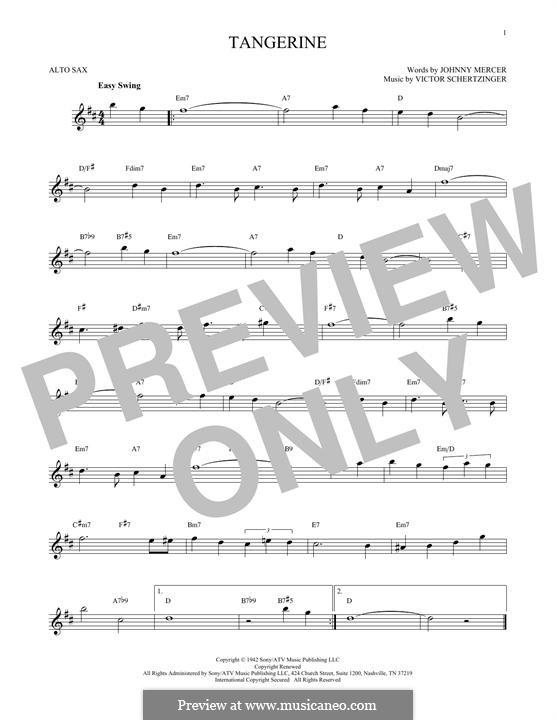 Tangerine: For alto saxophone by Victor Schertzinger