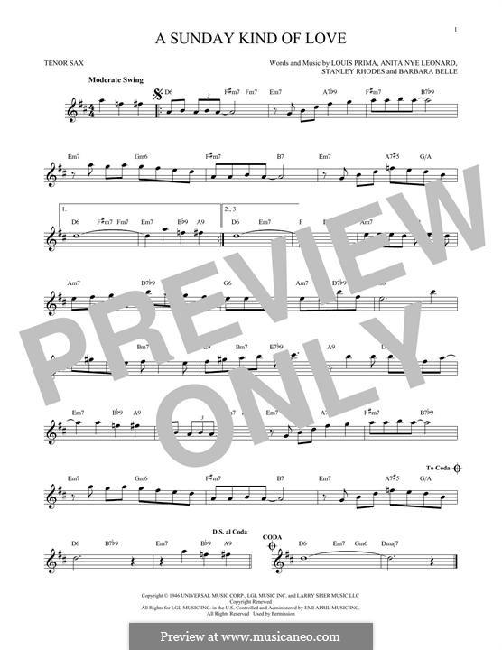 A Sunday Kind of Love: For tenor saxophone by Anita Leonard, Barbara Belle, Louis Prima, Stan Rhodes