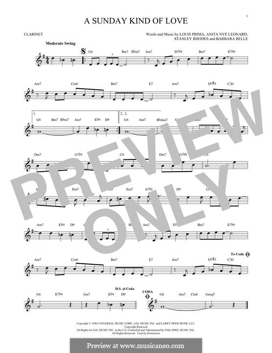 A Sunday Kind of Love: For clarinet by Anita Leonard, Barbara Belle, Louis Prima, Stan Rhodes