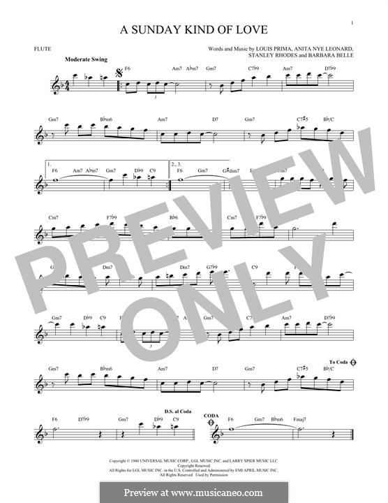 A Sunday Kind of Love: For flute by Anita Leonard, Barbara Belle, Louis Prima, Stan Rhodes