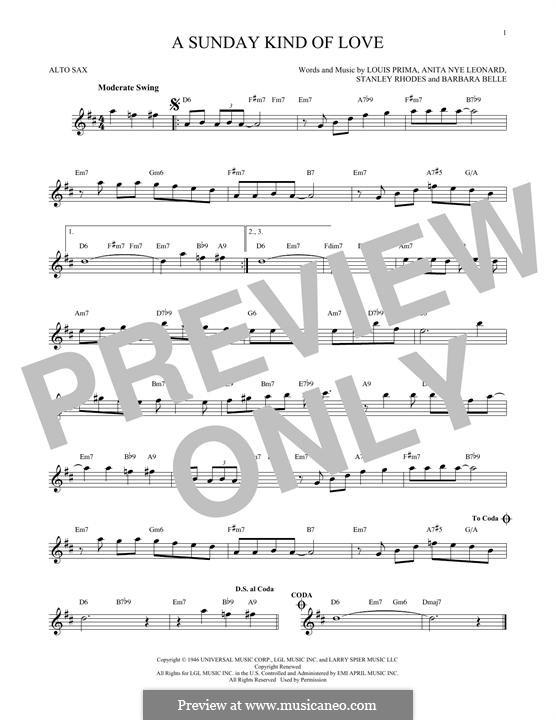 A Sunday Kind of Love: For alto saxophone by Anita Leonard, Barbara Belle, Louis Prima, Stan Rhodes
