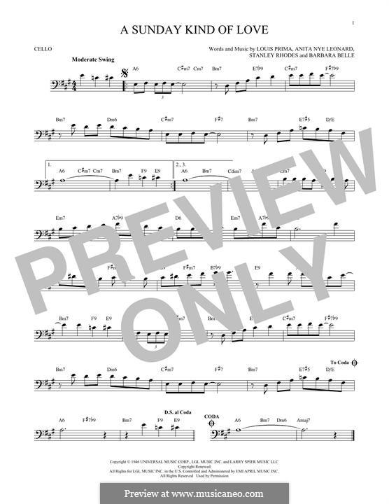 A Sunday Kind of Love: For cello by Anita Leonard, Barbara Belle, Louis Prima, Stan Rhodes