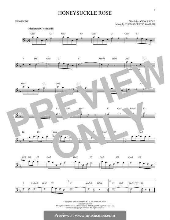 Honeysuckle Rose: For trombone by Fats Waller