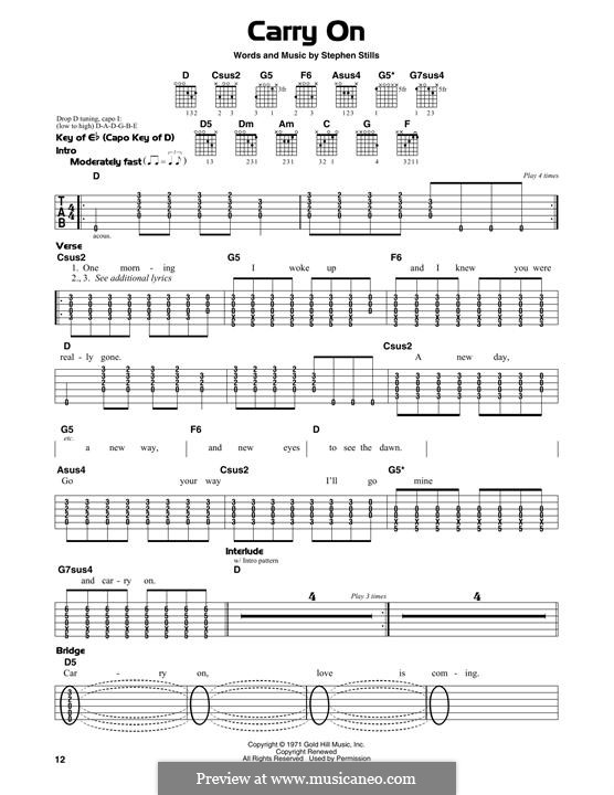 Carry on (Crosby, Stills & Nash): For guitar with tab by Stephen Stills