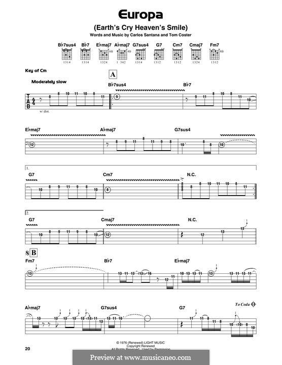 Europa (Santana): For guitar with tab by Carlos Santana