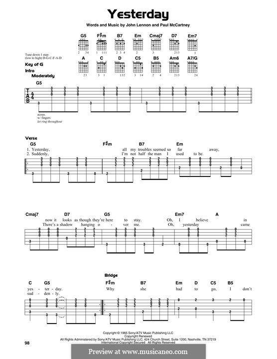 Yesterday (The Beatles): For guitar by John Lennon, Paul McCartney