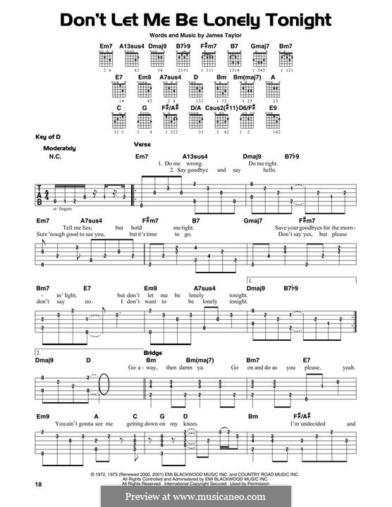 Don't Let Me Be Lonely Tonight: For guitar with tab by James Taylor