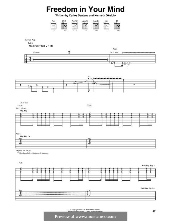Freedom in Your Mind (Santana): For guitar with tab by Carlos Santana, Kenneth Okulolo
