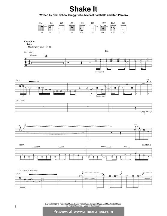 Shake It (Santana): For guitar with tab by Carlos Santana, Gregg Rolie, Karl Perazzo, Michael Carabello, Neal Schon