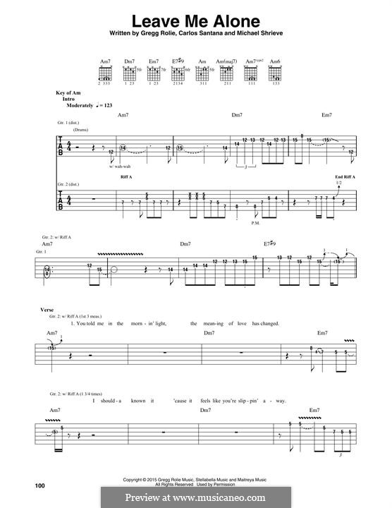 Leave Me Alone (Santana): For guitar with tab by Carlos Santana, Gregg Rolie, Michael Shrieve