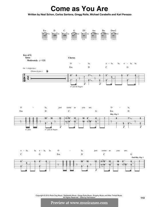 Come as You are (Santana): For guitar with tab by Carlos Santana, Gregg Rolie, Karl Perazzo, Michael Carabello, Neal Schon