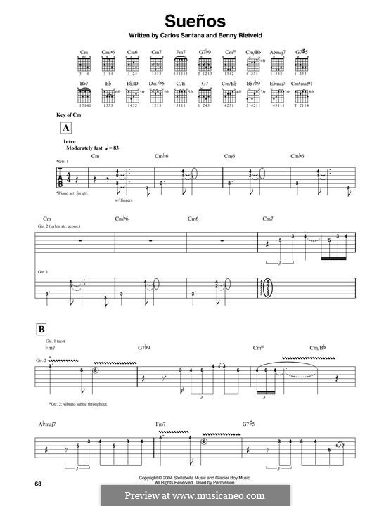 Suenos (Santana): For guitar with tab by Carlos Santana, Benny Rietveld