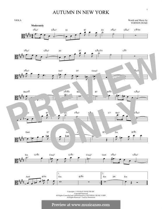 Autumn in New York: For viola by Vernon Duke