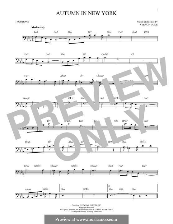 Autumn in New York: For trombone by Vernon Duke